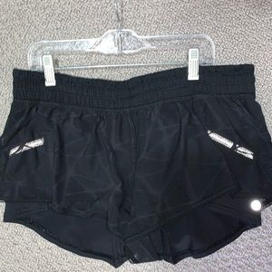Black mesh lululemon running shorts